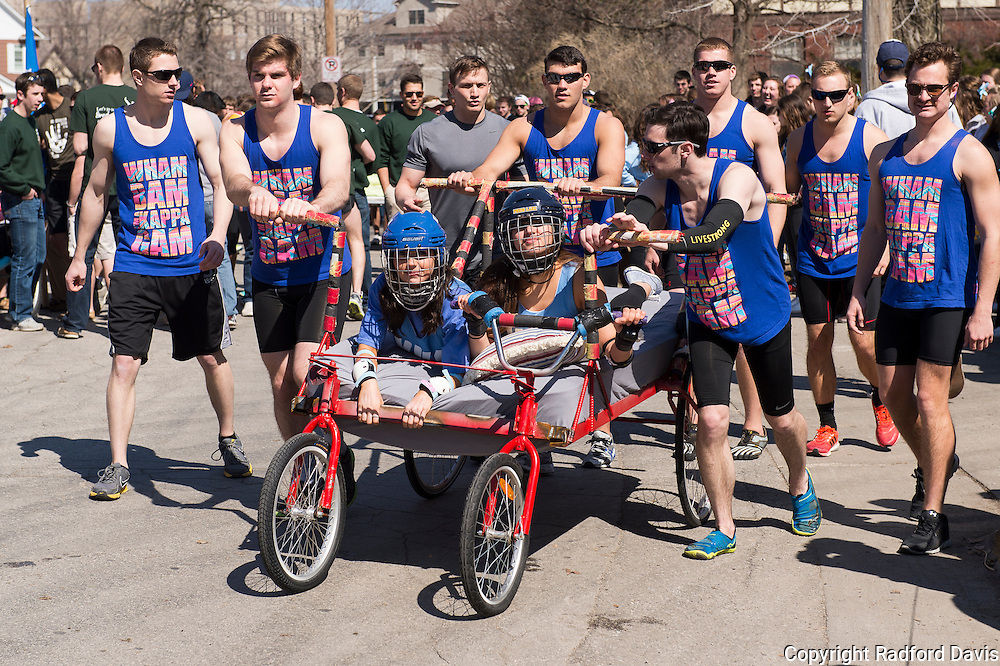 The next team prepares for bed races.