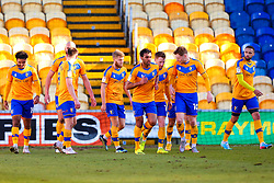 Mansfield Town players celebrate their opening goal - Mandatory by-line: Ryan Crockett/JMP - 27/02/2021 - FOOTBALL - One Call Stadium - Mansfield, England - Mansfield Town v Morecambe - Sky Bet League Two