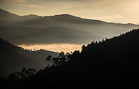 THIMPHU, BHUTAN - CIRCA October 2014: Sunrise over the mountains in Thimphu, Bhutan