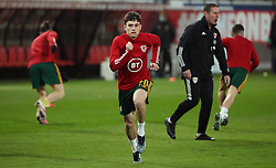 LEUVEN, BELGIUM - Wednesday, March 24, 2021: Wales' Daniel James during the pre-match warm-up before the FIFA World Cup Qatar 2022 European Qualifying Group E game between Belgium and Wales at the King Power Den dreef Stadium. Belgium won 3-1. (Pic by Vincent Van Doornick/Isosport/Propaganda)