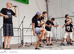 Canadian vocal group Retrocity perform in David Pecault Square, Toronto.