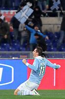 """L'Esultanza dopo il gol di Miroslav Klose (Lazio)<br /> Goal Celebration Miroslav Klose (Lazio)<br /> Roma 15/12/2012 Stadio """"Olimpico""""<br /> Serie A 2012/2013<br /> Football Calcio Lazio Vs Inter<br /> Foto Insidefoto Luca Pagliaricci"""