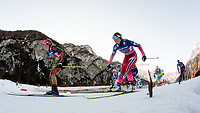 Langrenn  , FPLANICA,SLOVENIA,17.JAN.16 - NORDIC SKIING, CROSS COUNTRY SKIING - FIS World Cup, 1.2 km team sprint free, women. Image shows Laura Gimmler (GER) and Mari Eide (NOR). <br /> Norway only