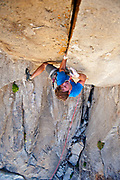 Andy Merriman on Vice Grips 5.11d+++. A Greg Lowe route. Building Blocks, City of Rocks, Idaho