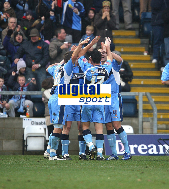 Photo: Karyn Haddon/Sportsbeat Images.<br /> Wycombe Wanderers v Lincoln City. Coca Cola League 2. 17/11/2007.<br /> Wycombe Wanderers celebrate a goal by Scott McGleish.