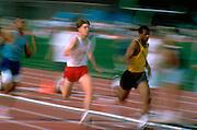 Boys age 17 competing in track meet blur.  St Paul  Minnesota USA