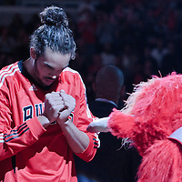 30 October 2010: Chicago Bulls Joakim Noah salutes Benny Da'Bulls during the players introduction prior to the Chicago Bulls 101-91 victory over the Detroit Pistons at the United Center, in Chicago, Illinois, USA.