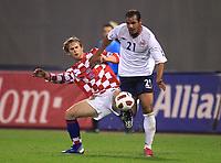 12.10.2010., stadium Maksimir, Zagreb - Friendly match between representations of Croatia and Norway. Strnic Ivan, Daniel Braaten<br /> Photo: Zeljko Lukunic/PIXSELL