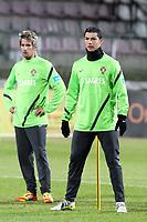 20120227: WARSZAWA, POLAND -<br /> Portugal national football team training session in Warszawa, Poland.<br /> In photo: CRISTIANO RONALDO and Fabio Coentrao.<br /> PHOTO: CITYFILES