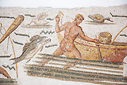 Ancient mosaics in Musee National du Bardo in Tunis, Tunisia