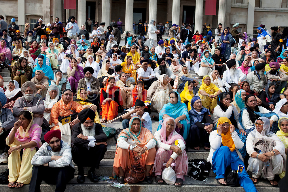 Sikhs gather in Trafalgar Square for a demonstration to highlight human rights abuses towards minority groups all over India. In 1984, two Sikh security guards assassinated Indira Gandhi. In the days that followed anti-Sikh murder squads claimed 2,733 lives in retribution all over Northern India. This gathering was to remember bloody 1984, and to look forward to a future without violations against minorities.