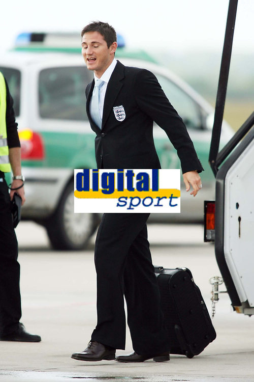 Photo: Chris Ratcliffe.<br />England arrival at Baden Airpot. 05/06/2006.<br />Frank Lampard still thinking about penalties as England land at Baden Baden.