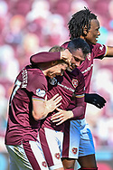 GOAL 3-0 Gary Mackay-Steven (#17) of Heart of Midlothian FC celebrates with team mates after he scores the opening goal during the SPFL Championship match between Heart of Midlothian and Inverness CT at Tynecastle Park, Edinburgh Scotland on 24 April 2021.