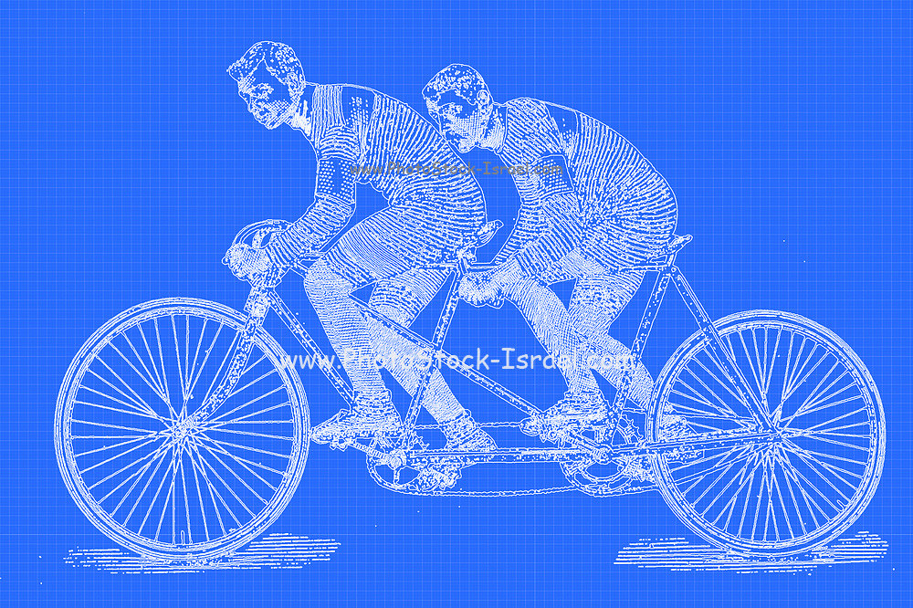 Digitally enhanced image of a Tandem riders racing on a bicycle from On the road to health and happiness by Charles A. Vogeler Company [Advertising] Publication date 1897