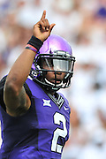 FORT WORTH, TX - SEPTEMBER 13:  Trevone Boykin #2 of the TCU Horned Frogs signals the play against the Minnesota Golden Gophers on September 13, 2014 at Amon G. Carter Stadium in Fort Worth, Texas.  (Photo by Cooper Neill/Getty Images) *** Local Caption *** Trevone Boykin