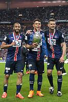 Joie PSG - Lucas Moura / Thiago Silva / Thiago Motta - 30.05.2015 - Auxerre / Paris Saint Germain - Finale Coupe de France<br />Photo : Andre Ferreira / Icon Sport