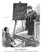 "The Ultimatum. Japan. ""If you go on saying I'm naughty, I shall leave the class."" (an InterWar cartoon shows the League Of Nations teacher with Lytton Report written on the blackboard and a defiant Japanese student)"