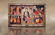 """The Romanesque Altar Front of Avia<br /> <br /> Around 1200, Tempera on wood with metalic ornamention from the church of Santa Maria d'Avia, Spain.<br /> <br /> National Art Museum of Catalonia, Barcelona. MNAC 15784<br /> <br /> <br /> The altar front of Byzantine art d'Avia depicting scenes from the life of the Virgin Mary and the nativity. The artistic style of the Altar front relies heavily of Byzantine influences. The intensity and variety of colors and the systematic application of appliqué are typical of eastern Mediterranean and Byzantine art . This can also be seen in the style and hand positions of the Virgin Mary and child, at the centre of the altar piece, which copies a style known as """"Our Lady of the Way"""" which in turn minics the orthodox icon """"the Virgin Hodegetria""""..<br /> <br /> If you prefer you can also buy from our ALAMY PHOTO LIBRARY  Collection visit : https://www.alamy.com/portfolio/paul-williams-funkystock/romanesque-art-antiquities.html<br /> Type -     MNAC     - into the LOWER SEARCH WITHIN GALLERY box. Refine search by adding background colour, place, subject etc<br /> <br /> Visit our ROMANESQUE ART PHOTO COLLECTION for more   photos  to download or buy as prints https://funkystock.photoshelter.com/gallery-collection/Medieval-Romanesque-Art-Antiquities-Historic-Sites-Pictures-Images-of/C0000uYGQT94tY_Y"""