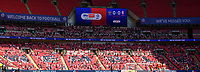 Lincoln City fans watch their team in action<br /> <br /> Photographer Chris Vaughan/CameraSport<br /> <br /> The EFL Sky Bet League One Play-Off Final - Blackpool v Lincoln City - Sunday 30th May 2021 - Wembley Stadium - London<br /> <br /> World Copyright © 2021 CameraSport. All rights reserved. 43 Linden Ave. Countesthorpe. Leicester. England. LE8 5PG - Tel: +44 (0) 116 277 4147 - admin@camerasport.com - www.camerasport.com