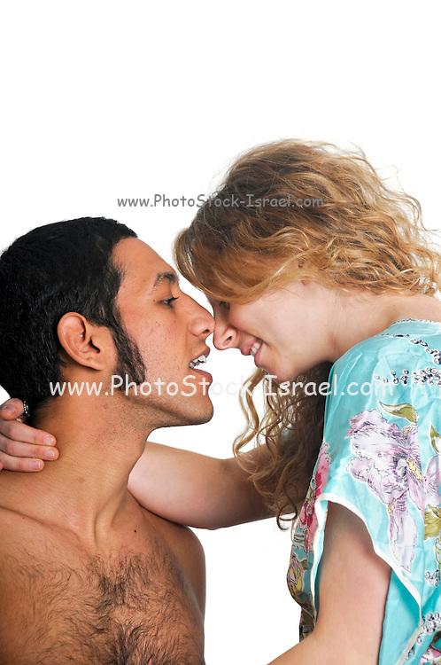 Young intimate couple studio shot