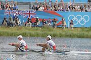 Eton Dorney, Windsor, Great Britain,..2012 London Olympic Regatta, Dorney Lake. Eton Rowing Centre, Berkshire[ Rowing]...Description;  Men's B Final Double Sculls.  NOR M2X, Nils Jakob HOFF (b) , Kjetil BORCH (s) , Dorney Lake..09:56:19  Thursday  02/08/2012..[Mandatory Credit: Peter Spurrier/Intersport Images].