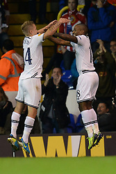 19.09.2013, White Hart Lane, London, ENG, UEFA Champions League, Tottenham Hotspur vs Toromsoe IL, Gruppe K, im Bild Tottenham's Lewis Holtby and Tottenham's Jermain Defoe  celebrate a goal during UEFA Champions League group K match between Tottenham Hotspur vs Toromsoe IL at the White Hart Lane, London, United Kingdom on 2013/09/19 . EXPA Pictures © 2013, PhotoCredit: EXPA/ Mitchell Gunn <br /> <br /> ***** ATTENTION - OUT OF GBR *****