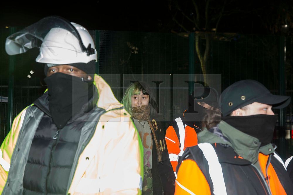 ©️ Licensed to London News Pictures. 05/02/2021. London,UK. The first protester is removed from the tunnel.while bailiffs work to evict the rest of eco-activists, who are living in increasingly unstable tunnels beneath Euston Square Gardens in central London. The eviction of the HS2 Rebellion group from the square began more than a week ago. Photo credit: Marcin Nowak/LNP