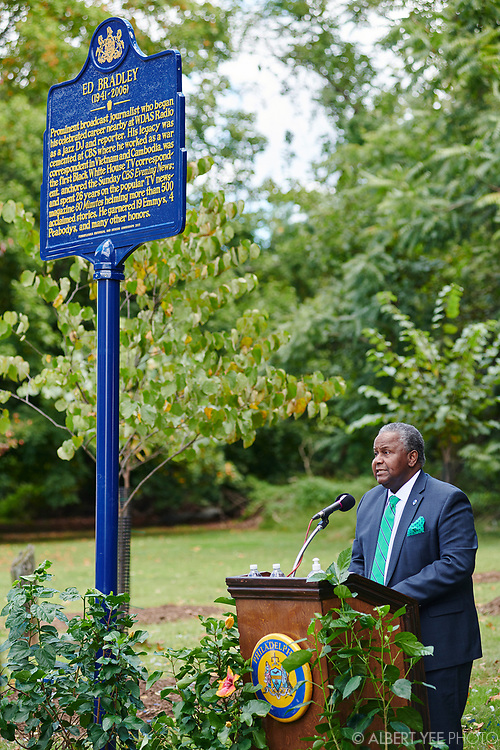 Aaron A. Walton, President of Cheyney University<br /> <br /> Patricia Blanchet, widow of Ed Bradley, will lead a loving tribute to Ed Bradley, a Philadelphia-born legendary journalist. The Pennsylvania Historical and Museum Commission has created an historical marker to be placed in West Fairmount Park, not far from the radio station where Bradley began his broadcast career at WDAS on Edgely Avenue. Bradley would have turned 80 in June 2021, so the celebration is a fitting tribute to this trailblazing son of Philadelphia. In addition to the unveiling of the historical marker highlighting Bradley's life, a small grove of nine trees has been planted in the surrounding area to further enhance Fairmount Park.<br /> <br /> for Fairmount Park Conservancy<br /> September 26, 2021