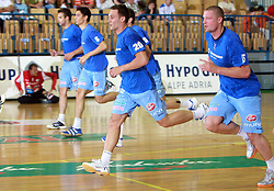 Team Slovenia (Luka Zvizej - 20, Rok Praznik) before handball game between men national teams of Slovenia and Slovakia, first qualification game for the World Chamionship 2009, on June 7, 2008, in Arena Zlatorog, Celje, Slovenija. Result: 33 : 33. (Photo by Vid Ponikvar / Sportal Images)