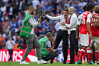 Arsenal manager Arsene Wenger celebrates with Arsenal's Gabriel Paulista at full time     <br /> <br /> <br /> Photographer Craig Mercer/CameraSport<br /> <br /> The Emirates FA Cup Final - Arsenal v Chelsea - Saturday 27th May 2017 - Wembley Stadium - London<br />  <br /> World Copyright © 2017 CameraSport. All rights reserved. 43 Linden Ave. Countesthorpe. Leicester. England. LE8 5PG - Tel: +44 (0) 116 277 4147 - admin@camerasport.com - www.camerasport.com