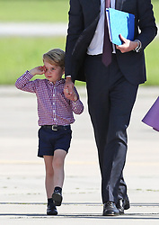 The Duke of Cambridge and Prince George depart from Hamburg at the end of their visit to Germany.