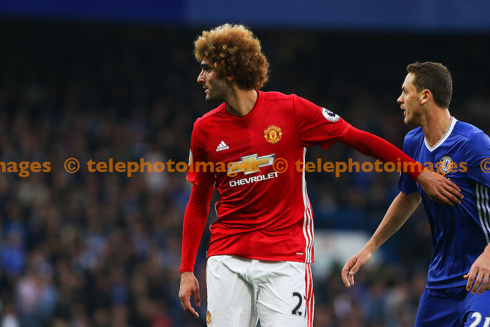 Marouane Fellaini of Manchester united during the Premier League match between Chelsea and Manchester United at Stamford Bridge in London. October 23, 2016.<br /> Arron Gent / Telephoto Images<br /> +44 7967 642437