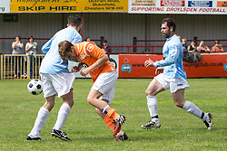 © Licensed to London News Pictures . 02/08/2015 . Droylsden Football Club , Manchester , UK . NICO MIRALLEGRO (c) challenging for the ball . Celebrity football match in aid of Once Upon a Smile and Debra , featuring teams of soap stars . Photo credit : Joel Goodman/LNP