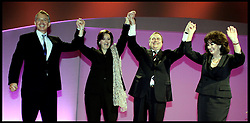 Tony Blair and his wife Cherie and the Deputy Prime Minister John Precott and his wife Pauline on stage  after John Precott's closing speech to the Labour Party Conference PRESS ASSOCIATION Photo. Picture date:Thursday 28th September , 2006. Photo credit should read: Andrew Parsons/PA.