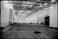 The interior of the Turkish freighter, the RORO UND Ege. This entire space will be filled with truck trailers. The ship sails between Istanbul and Trieste.