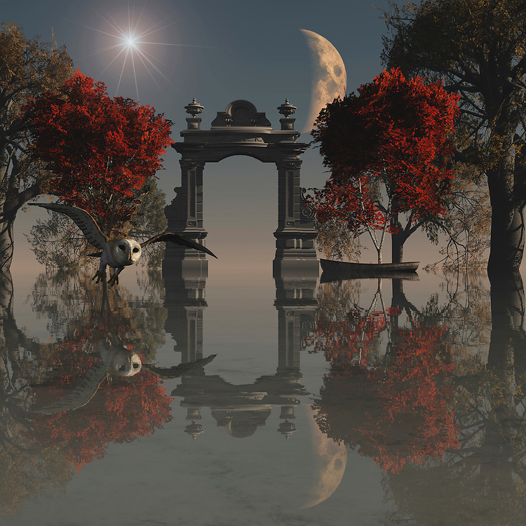 Surrealism is one of the most unique forms of art as everyone can interpret it in their own way but the true meaning lies with the artist. This beautiful painting incorporates all of the features of a truly surreal environment from the glowing starburst and emerging moon to the bright red leaves that have yet to fall from the trees. The attention to detail with reflections from all of the elements in the painting is what really sets this piece apart as it is so intricate you will always find something new to look at. Also, the hunting owl fits perfectly into the landscape, searching for its prey in this magical and surreal environment. .<br /> <br /> BUY THIS PRINT AT<br /> <br /> FINE ART AMERICA<br /> ENGLISH<br /> https://janke.pixels.com/featured/owl-hunting-jan-keteleer.html<br /> <br /> <br /> WADM / OH MY PRINTS<br /> DUTCH / FRENCH / GERMAN<br /> https://www.werkaandemuur.nl/nl/shopwerk/Dierenrijk---Uil-op-jacht-in-een-surrealistisch-landshap/437677/134