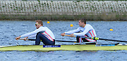 Reading. United Kingdom.  GBR M2-.  Bow. Peter REED and Will SATCH, in the opening strokes of the morning time trial. 2014 Senior GB Rowing Trails, Redgrave and Pinsent Rowing Lake. Caversham.<br /> <br /> 11:07:13  Saturday  19/04/2014<br /> <br />  [Mandatory Credit: Peter Spurrier/Intersport<br /> Images]