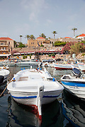 Fishing boats and yachts moored in the marina at Byblos, a small coastal town in Lebanon