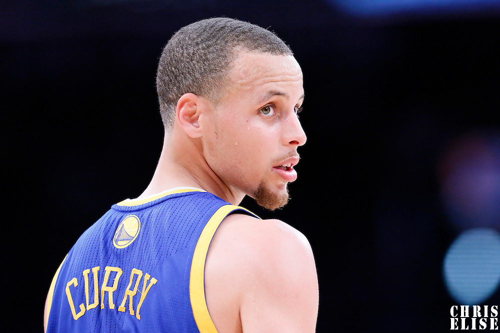 11 April 2014: Golden State Warriors guard Stephen Curry (30) rests during the Golden State Warriors 112-95 victory over the Los Angeles Lakers at the Staples Center, Los Angeles, California, USA.