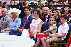 Prince Charles, left to right, Camilla Duchess of Cornwall, Prime Minister Justin Trudeau, Sophie Gregoire Trudeau, Hadrien Trudeau, Ella-Grace Trudeau and Xavier Trudeau take part in Canada 150 celebrations on Parliament Hill in Ottawa, Canada, on Saturday, July 1, 2017. Photo by Sean Kilpatrick/CP/ABACAPRESS.COM