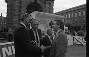 Nissan International Cycle Race..1986..01.10.1986..10.01.1986..1st October 1986..The Nissan Classic began today from Trinity College,Dublin. The offical race starter was The Taoiseach,Dr Garrett FitzGerald TD. He was accompanied by the Minister for Sport,Mr Sean Barrett TD..Sean Kelly was returning to defend his title but his opposition included Greg LeMond, the 1983 world champion and the winner of the Tour de France of the previous July. Roche was out due to his injured leg. Adri van der Poel was back with 1980 Tour de France winner and 1985 world champion Joop Zoetemelk. Teun van Vliet was back too. The winner of the green jersey of the Tour de France that July, Eric Vanderaerden was there as well as Australians Phil Anderson and Alan Peiper as well the Scottish cyclist Robert Millar...