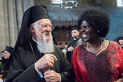 17 June 2018, Geneva, Switzerland: Representatives of churches worldwide gathered at Geneva's St Pierre Cathedral for a service of celebration to mark the 70th anniversary of the World Council of Churches on 17 June, at which His All-Holiness Ecumenical Patriarch Bartholomew urged continued efforts for unity, justice and peace. Here, the patriarch with WCC Central Committee moderator Dr Agnes Abuom.