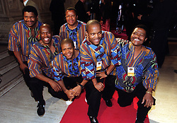 Members of the South African vocal group Ladysmith Black Mambazo, with lead singer Joseph Shabalala far right, arriving for the MOBO (Music Of Black Origin) Awards, at London's Royal Albert Hall.