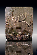Picture & image of a Neo-Hittite orthostat describing the legend of Gilgamesh from Karkamis,, Turkey. Museum of Anatolian Civilisations, Ankara. A three headed Sphinx which is a winged lion with a human heas and a bird of prey's head on the end of its tail 4