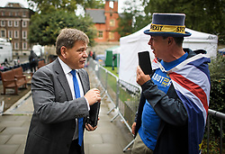 © Licensed to London News Pictures. 04/09/2019. London, UK. Conservative MP ANDREW BRIDGEN remonstrates with pro EU campaigner STEVE BRAY in Westminster, London. British Prime Minister Boris Johnson has a called for a general election after losing his first commons vote and losing his majority, removing his control of parliament. Photo credit: Ben Cawthra/LNP