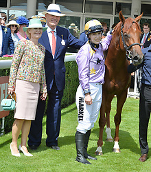 29 July 2021 - The QATAR Goodwood Festival Ladies Day at Goodwood Racecourse, West Sussex.<br /> Picture Shows - Left, Thea Gosden Hood, John Gosden and Rachel Hood.<br /> <br /> NON EXCLUSIVE - WORLD RIGHTS