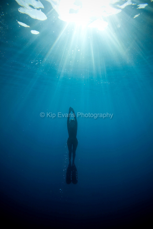 A skin diver ascends to the surface of the ocean.