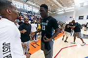 THOUSAND OAKS, CA Sunday, August 12, 2018 - Nike Basketball Academy. Kofi Cockburn 2019 #23 of Oak Hill Academy talks to Chris Young and John Lucas after the game. <br /> NOTE TO USER: Mandatory Copyright Notice: Photo by Jon Lopez / Nike