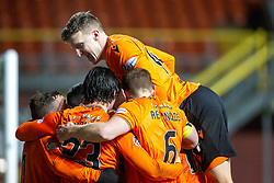 Dundee United's players cele with Lawrence Shankland cele scoring their second goal from their penalty. Dundee United 4 v 0 Ayr United, Scottish Championship game played 21/12/2019 at Dundee United's stadium Tannadice Park.