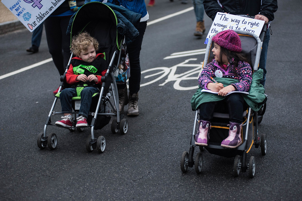 Two children in strollers at the Women's March on January 02, 2017.